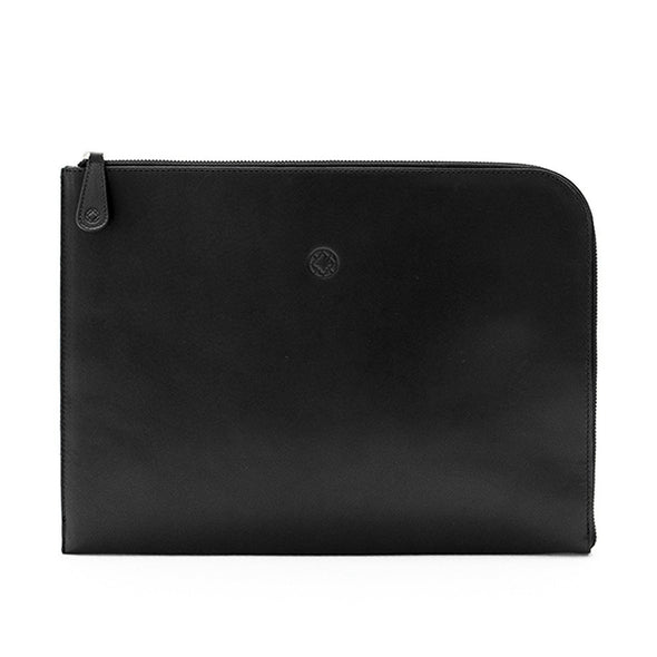 Mendocino Portfolio Black Portfolio Cases | La Portegna UK | Handmade Leather Goods | Vegetable Tanned Leather