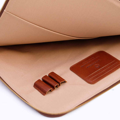 Leather Portfolio | Mendocino Sol & Brown - Open
