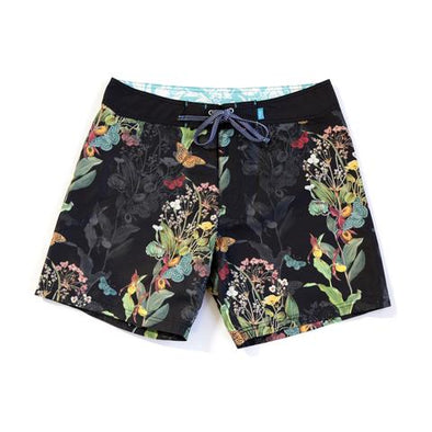 Boardshort - Endangered Flower Black