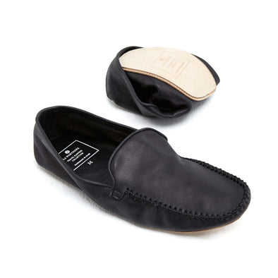 Rodrigo Leather Black | Slippers UK | La Portegna UK | Handmade Leather Goods | Vegetable Tanned Leather