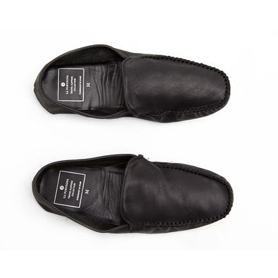 Leather Sole Shoes | Moccasin Slippers | Rodrigo Black - Top
