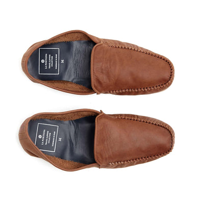 Leather Sole Shoes | Moccasin Slippers | Rodrigo Brown Top View