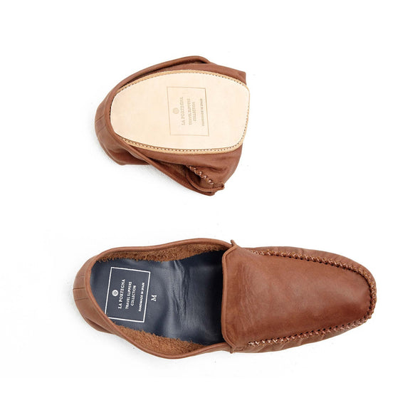 Rodrigo Leather Brown Slippers | La Portegna UK | Handmade Leather Goods | Vegetable Tanned Leather