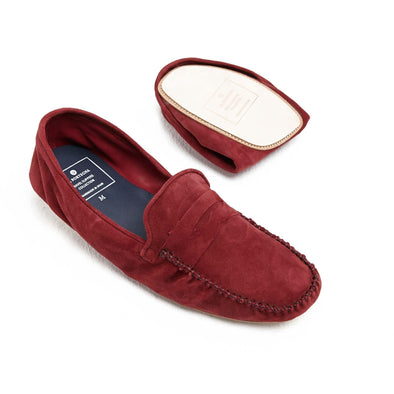 Rodrigo Suede Bordeaux | Slippers UK | La Portegna UK | Handmade Leather Goods | Vegetable Tanned Leather