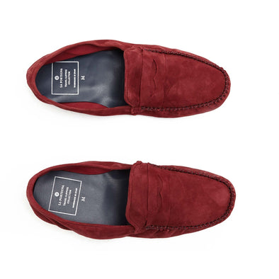Rodrigo Suede Bordaux Slippers | La Portegna UK | Handmade Leather Goods | Vegetable Tanned Leather