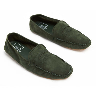 Rodrigo Suede Green | Slippers UK | La Portegna UK | Handmade Leather Goods | Vegetable Tanned Leather