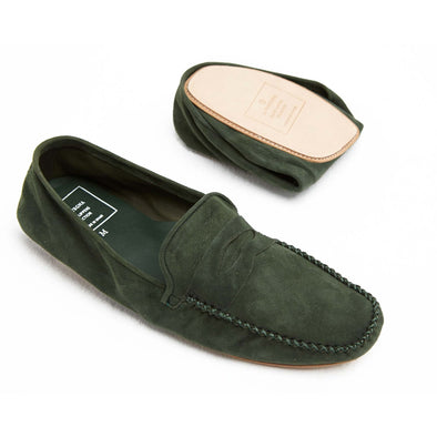 Rodrigo Suede Green Slippers | La Portegna UK | Handmade Leather Goods | Vegetable Tanned Leather