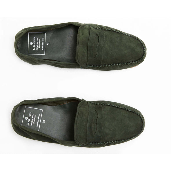 Leather Sole Shoes | Moccasin Slippers | Rodrigo Suede Green Top