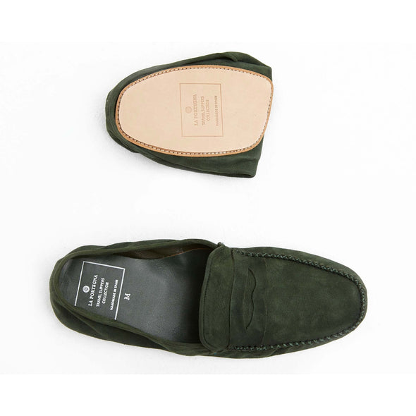 Leather Sole Shoes | Moccasin Slippers | Rodrigo Suede Green Folded