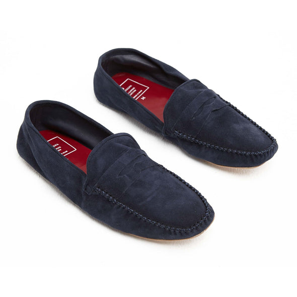 Leather Sole Shoes | Moccasin Slippers | Rodrigo Suede Navy Shoes