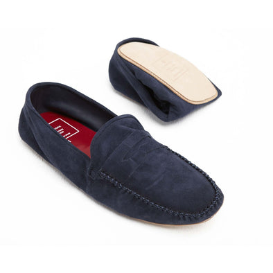 Rodrigo Suede Navy | Slippers UK | La Portegna UK | Handmade Leather Goods | Vegetable Tanned Leather