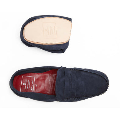 Leather Sole Shoes | Moccasin Slippers | Rodrigo Suede Navy Folded