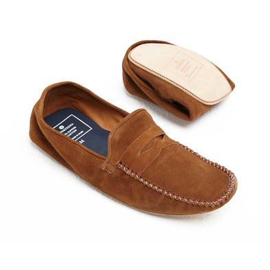 Rodrigo Suede Tan Slippers | La Portegna UK | Handmade Leather Goods | Vegetable Tanned Leather