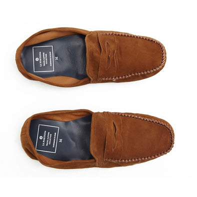 Leather Sole Shoes | Moccasin Slippers | Rodrigo Suede Tan Top View