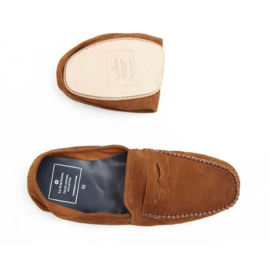 Leather Sole Shoes | Moccasin Slippers | Rodrigo Suede Tan Folded