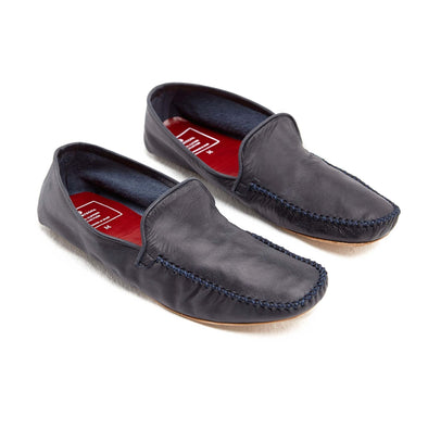Leather Sole Shoes | Moccasin Slippers | Rodrigo Navy Shoes