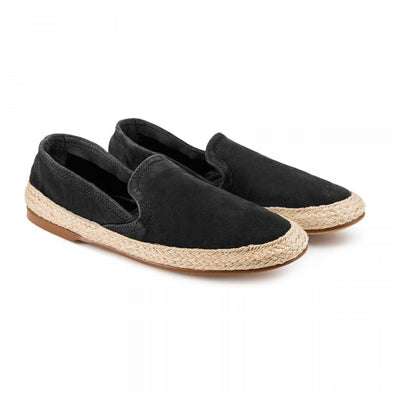 Women Espadrilles - Leather Sole - Nappa Black - Front