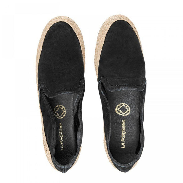 Women Espadrilles - Leather Sole - Nappa Black - Top