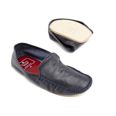 Rodrigo Leather Navy | Slippers UK | La Portegna UK | Handmade Leather Goods | Vegetable Tanned Leather