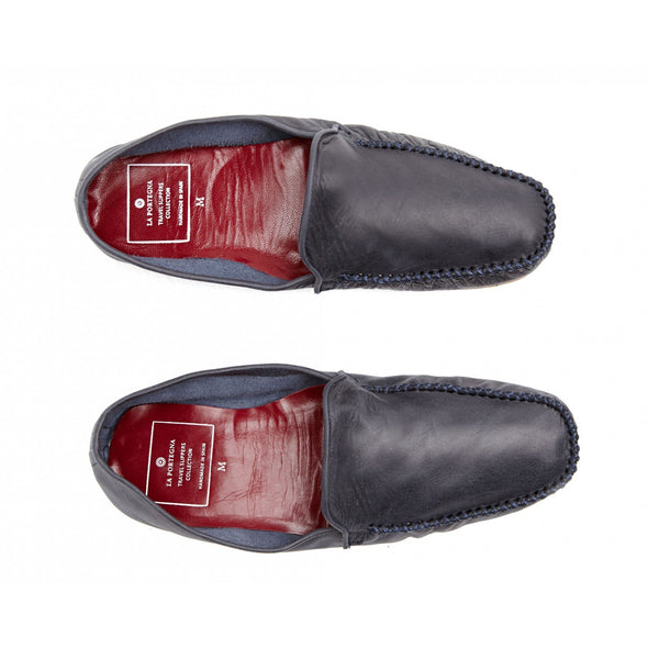 Leather Sole Shoes | Moccasin Slippers | Rodrigo Navy Top View