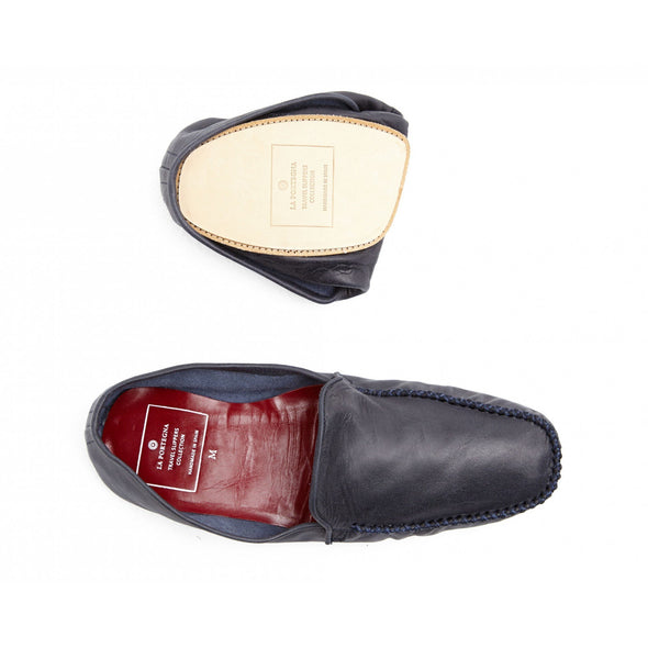 Leather Sole Shoes | Moccasin Slippers | Rodrigo Navy Folded