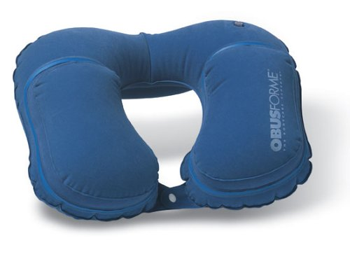 ObusForme Inflatable Travel Pillow with Chin and Neck Support and a Velour Cover