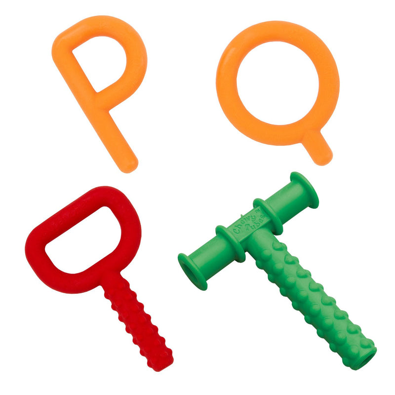 Chewy Tubes P's & Q's, Super Chew Red and Teether Green Set