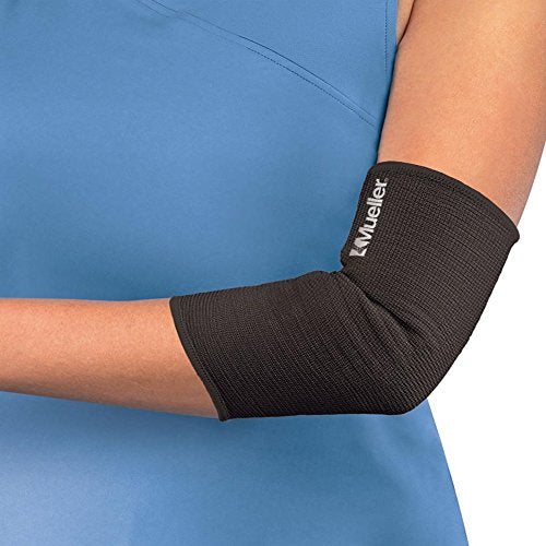 Mueller Elbow Support Elastic Knit Compression, Contoured, Lightweight, Black - Small - X-Large