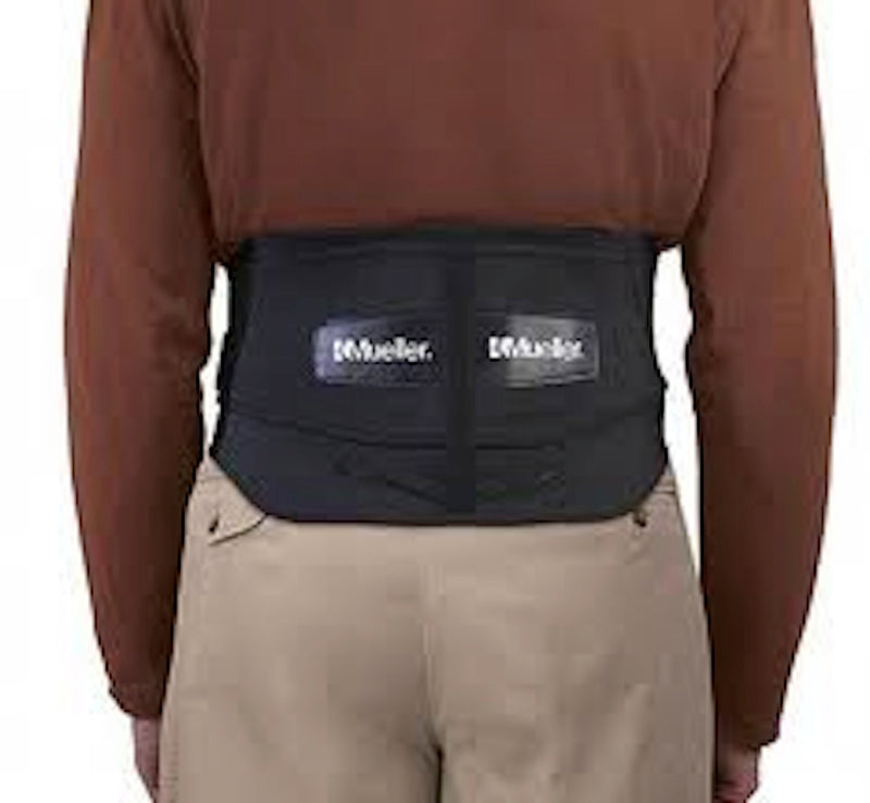 Mueller Lumbar Back Brace W/Removable Pad Black, Regular or Plus Sizes