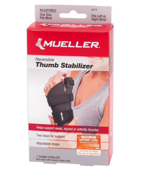 "Mueller Sports Medicine Reversible Thumb Stabilizer, Black Fits 5.5-10.5"" 62712"