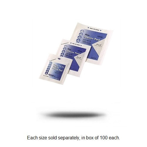 Mueller Gauze Pads, 12-ply sterile, individually wrapped - 100/BOX