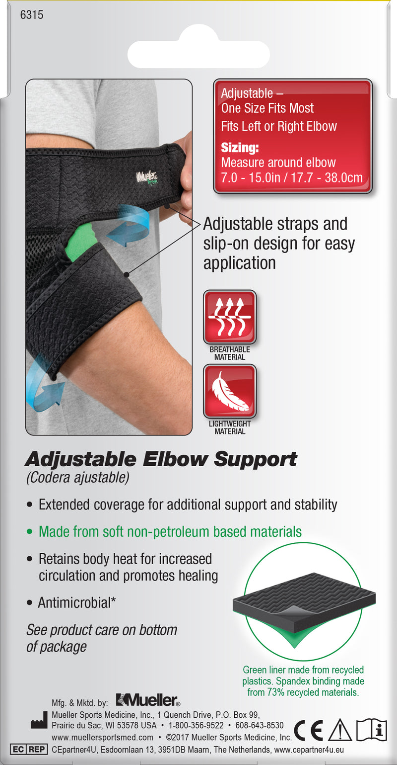 Mueller Adjustable Elbow Support, Black, One Size 6315