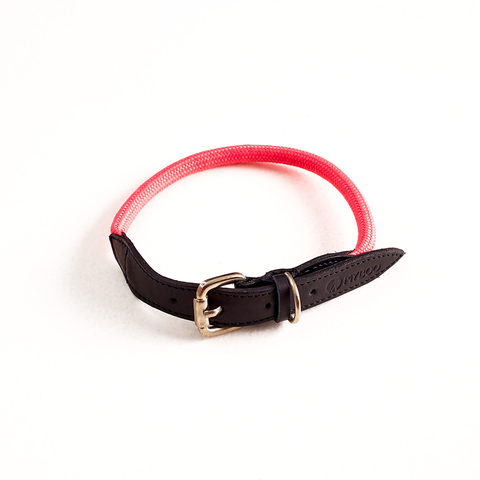 Coleira MY BOO Leather Rope - Rosa Neon