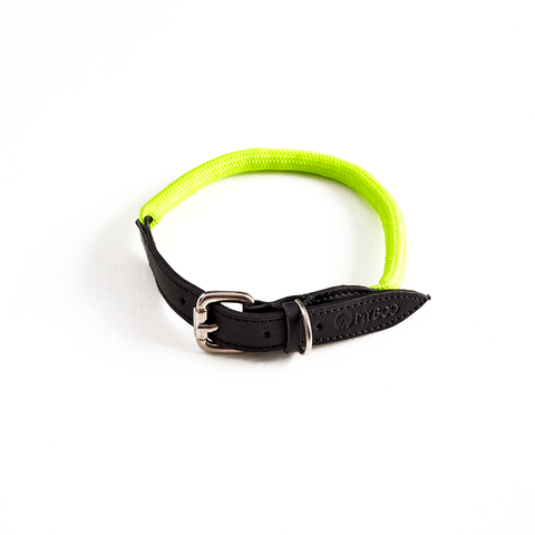 Coleira MY BOO Leather Rope - Verde Neon