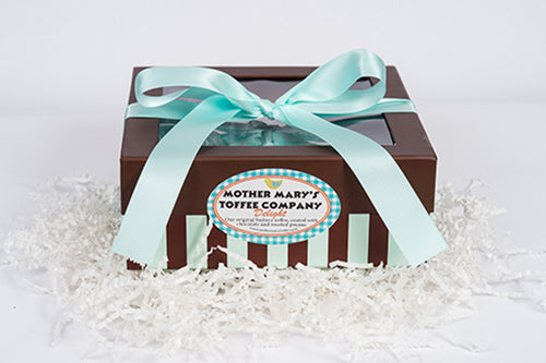 Mother Mary's Toffee Company: One Pound Aqua Square Box