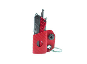 Clip & Carry Kydex Sheath: Gerber Dime/Leatherman Squirt - Red Carbon Fibre
