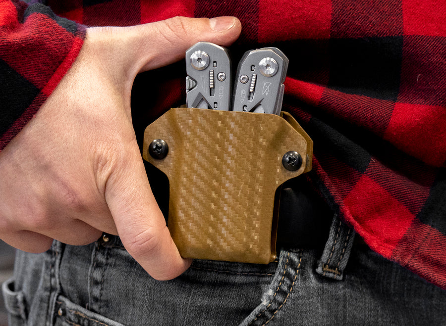 Clip & Carry Kydex Sheath: Gerber Suspension - Brown Carbon Fibre
