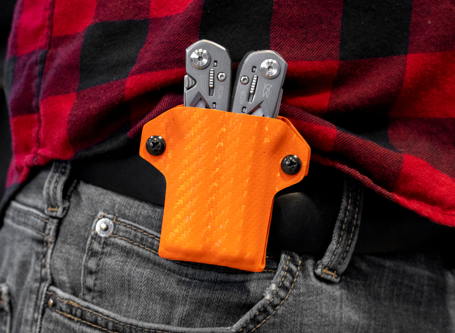 Clip & Carry Kydex Sheath: Gerber Suspension - Orange Carbon Fibre