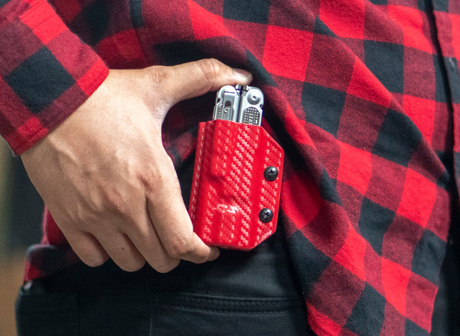 Clip & Carry Kydex Sheath: Leatherman FREE P2 - Red Carbon Fibre