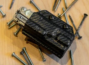 Clip & Carry Kydex Sheath: Leatherman FREE P4 - Black Carbon Fibre