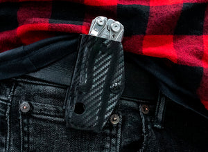 Clip & Carry Kydex Sheath: Leatherman Skeletool - Black Carbon Fibre