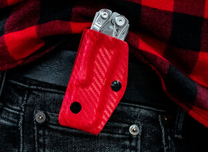 Clip & Carry Kydex Sheath: Leatherman Skeletool - Red Carbon Fibre