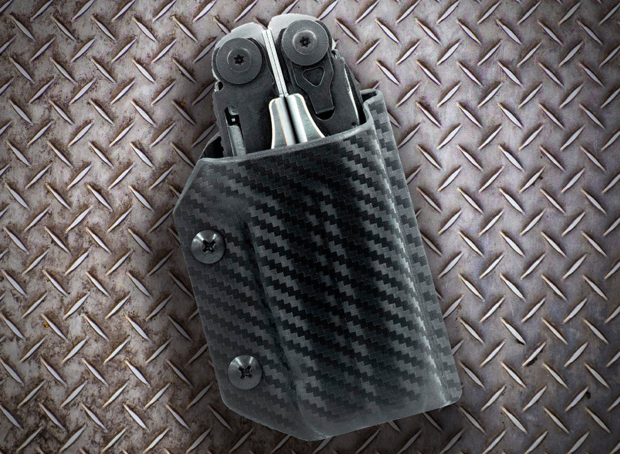 Clip & Carry Kydex Sheath: Leatherman Surge - Black Carbon Fibre