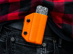 Clip & Carry Kydex Sheath: Leatherman Wingman / Sidekick / Rebar / Rev - Orange Carbon Fibre