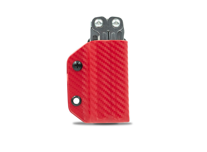 Clip & Carry Kydex Sheath: Leatherman Wingman / Sidekick / Rebar / Rev - Red Carbon Fibre