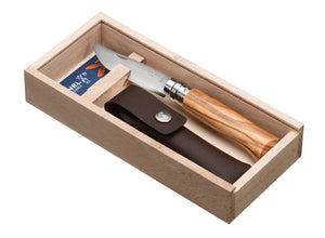 Opinel No.8 Olive Classic Originals Knife with Sheath Gift Set