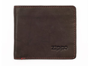 Zippo Leather Bi-Fold Wallet w/ Coin Pocket - Mocha