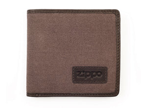 Zippo Leather & Canvas Wallet - Mocha & Grey
