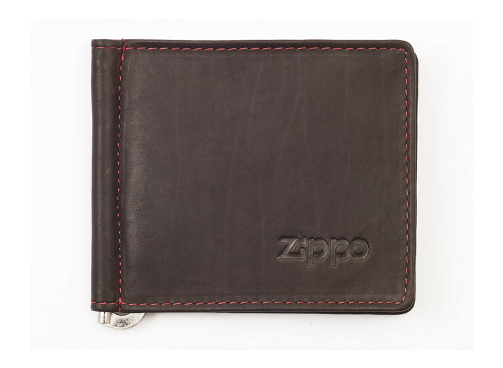Zippo Leather Bi-Fold Money Clip Wallet - Mocha