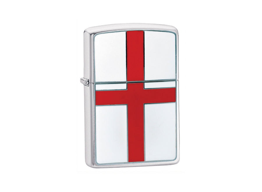 Zippo England Flag Lighter - Brushed Chrome